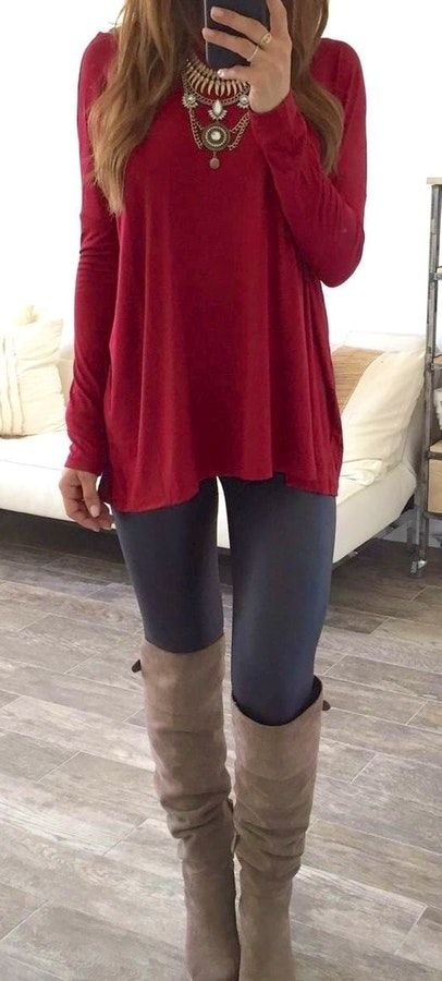 #fall #outfits  women's red long-sleeve shirt, black leggings and pair of brown leather knee-high boots