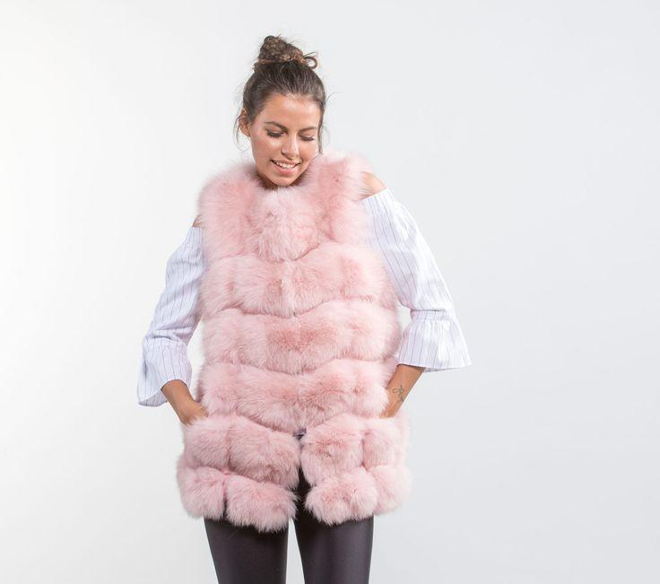 Pink Fox Fur Vest     #pink #foxfur #dyed #style #classy #vest #online #eshop #real #fur #chic #outfit #luxury