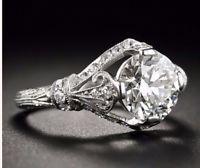 2.00 Ct  Edwardian/Antique Style Genuine Natural Diamond Engagement Ring VS2 F