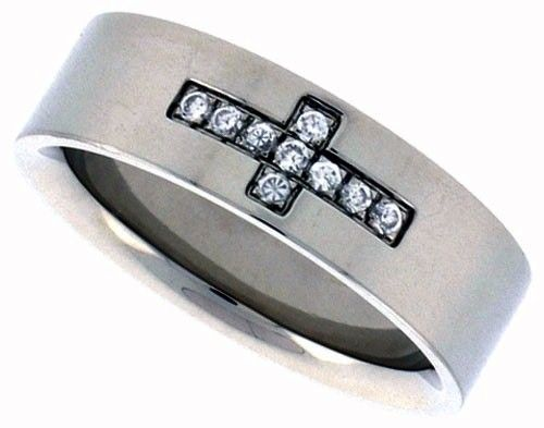 Ring of Commitment  Handmade from Surgical Stainless Steel with Cubic Zirconias insets.  A wonderful way to declare your commitment to the person who has stolen your heart.