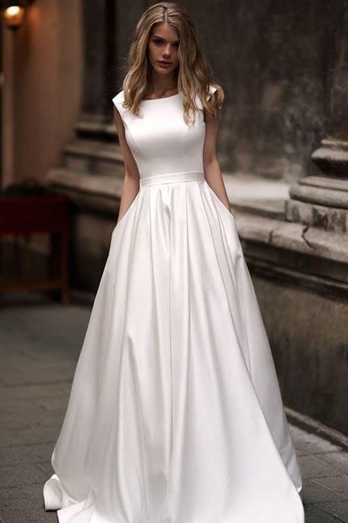 Einfache Brautkleider lange Satinlinie mit Taschen