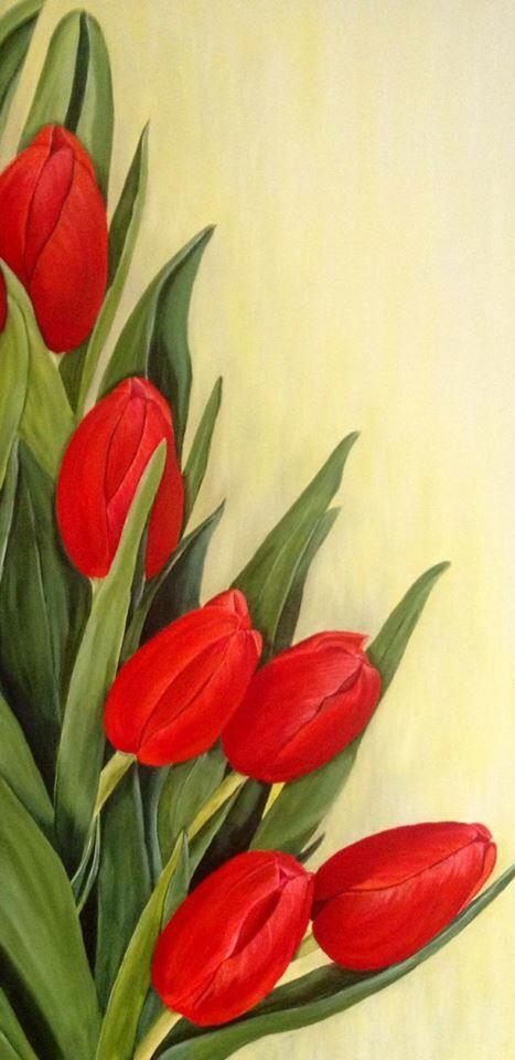 Rode tulpen tussen groen blad acryl schilderij