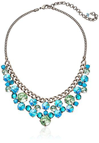 "Sorrelli  ""Sea Glass"" Round Crystal Cluster Bib Necklace, 16.5″ + 4″extender"