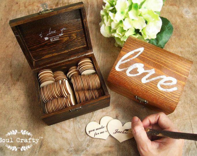 """50 razones """"te amo porque..."""" Madera corazón mensaje rústico regalo caja San Valentín día boda aniversario día de la madre de él para su regalo"""