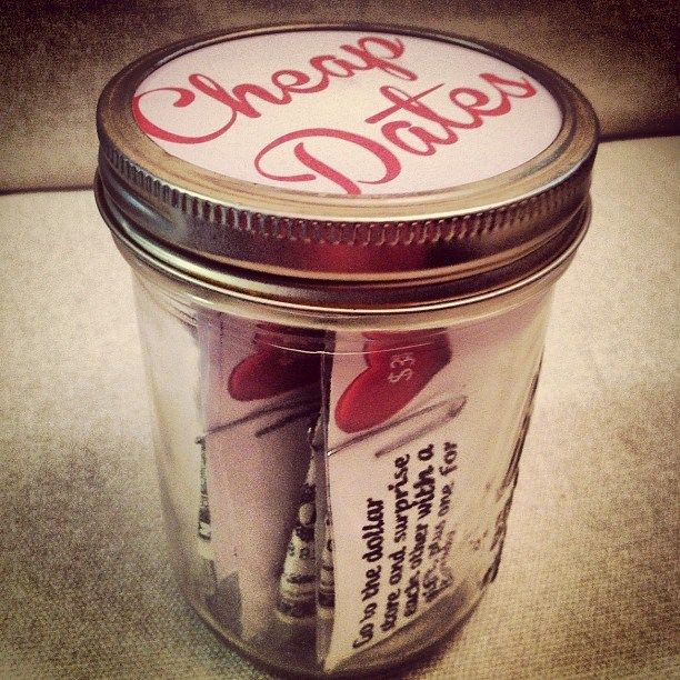 """A Jar of Cheap Dates - with a printable! I love clipping the money so they are """"pre-paid"""". So smart and convenient."""