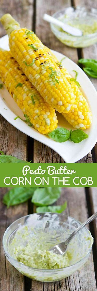 Pesto Butter Corn on the Cob is the perfect summertime side dish recipe! Only 4 ingredients needed. 118 calories and 2 Weight Watchers Freestyle SP