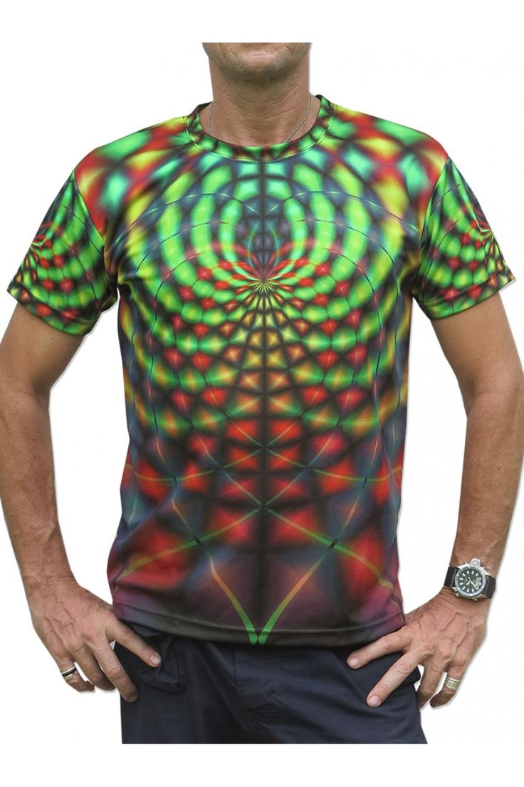 """UV Sublime S/S T : Rainbow Web Fully printed short sleeve T shirt. This shirt is an """"All Over"""" printed T shirt that will really grab people's attention. Printed using sublimation printing on a high quality UV Yellow polyester / Dri-Fit blended shirt. This allows for extremely vibrant colors that will never fade away no matter how many times it gets washed, & results in an extremely soft """"feel"""" to the shirt for ultimate comfort. UV active - Glows under black light ! Artwork by Space Tribe"""