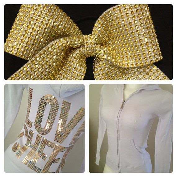 Gold & White Love Cheer Jacket and Rhinestone Cheer Bow Gift Set on Etsy, $42.99