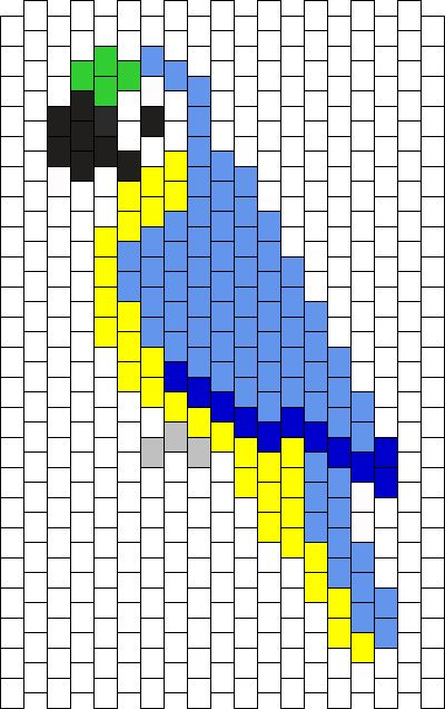 Blue Gold Macaw Bead Pattern