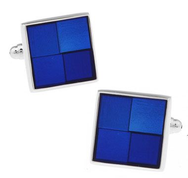Men Gift Shirt Cuff Links Wholesale&retail Blue Color Copper Material Fashion Enamel Square Check Design
