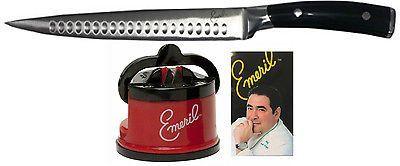Emeril 8 Inch Slicer & Knife Sharpener w/ Suction Mount Pad Emerilware NEW