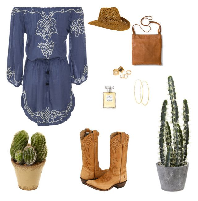 Cowgirl Chic by bellecollective on Polyvore featuring polyvore, fashion, style, Frye, Merona, Lana, Pieces, San Diego Hat Co., Chanel, Nearly Natural and clothing