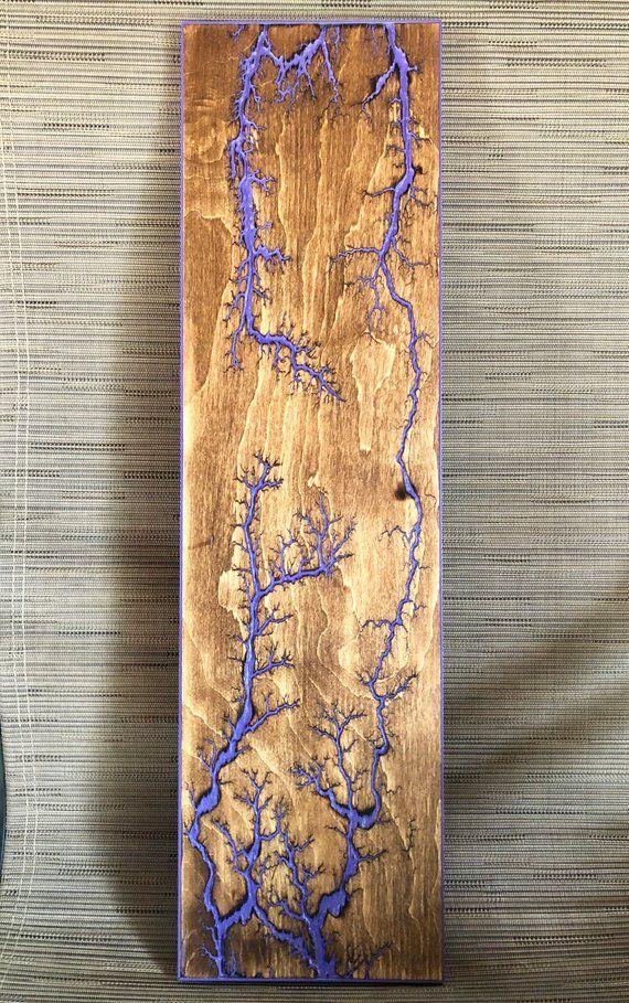 GRIMACE – Fractal burn, fractal art, high voltage wood burn, wall art, wood art, rustic, Lichtenburg figure, captured lightning