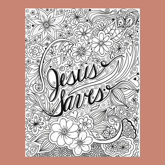 Jesus Saves Coloring Page Christian Coloring Page Flower