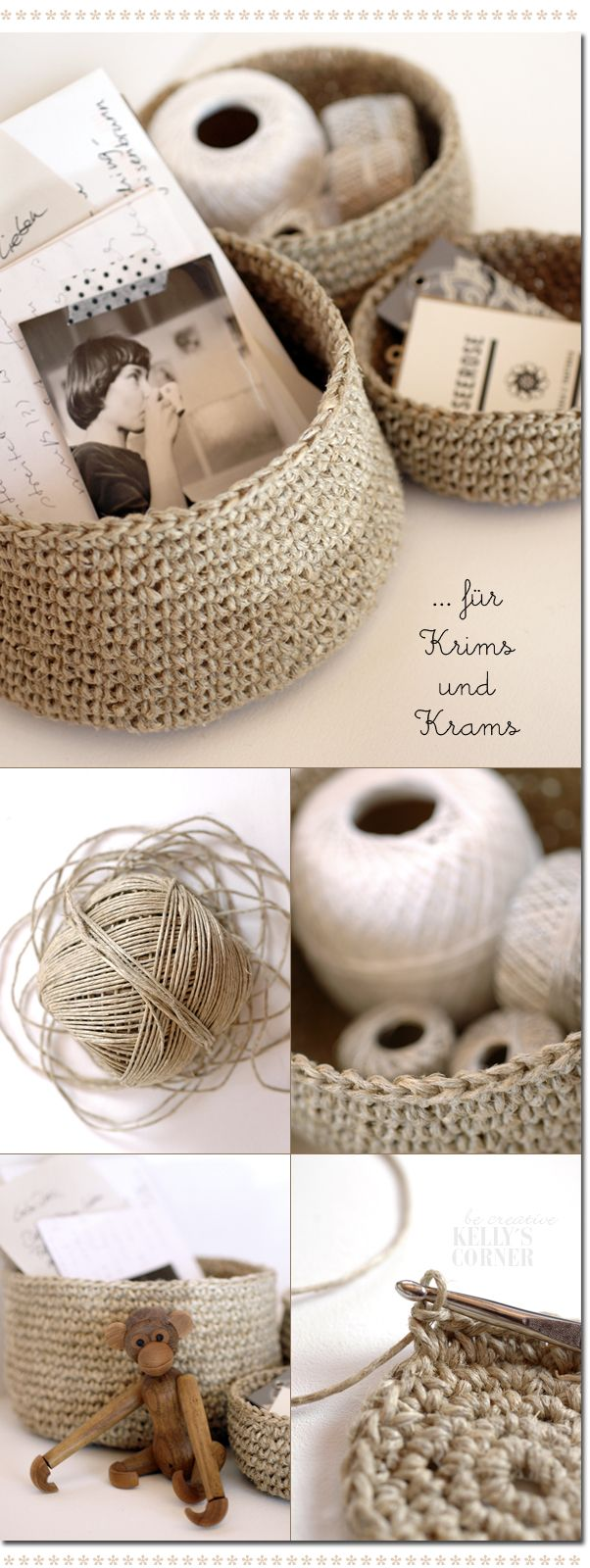 crochet storage baskets from packing twine