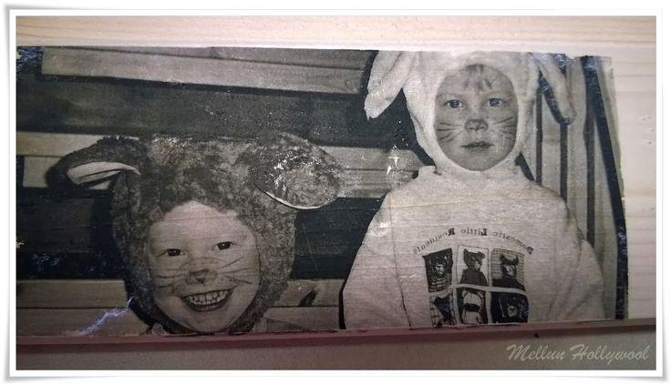 """Kopioi lapsen kuva kopiokoneella. Tehdään siitä kuvataulu kankaalle tai suoraan puulle. Padit lisäävät monipuolisuutta, kun ottaa kuvat niillä. Kuvansiirto puulle: http://mellunhollywool.blogspot.fi/2014/03/kuvansiirto-puulle.html TAI: Koivun rungosta (halkaisija n.15cm) pyöreät taulupohjat, kaarna kauniina reunuksena. Tähän seepiakuva oppilaasta (käsissä """"isin muru""""-kyltti), liimataan erikeeper-vesiseoksella. Toiselle puolelle oma runo kiinni samalla seoksella. Poralla reikä…"""