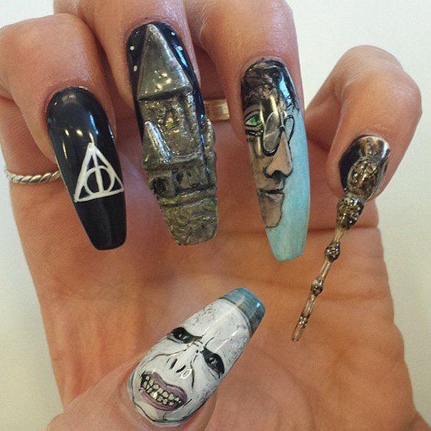 Diseños de uñas Harry Potter voldemort Harry varita reliquias de la muerte