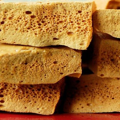 Recipe for Yellowman (Irish Sponge Toffee).  It is sold at Lammas Fair, an annual cattle fair held at Ballycastle, County Antrim.  Lammas Fair is believed to be one of the oldest fairs in Ireland. It is held on the last Monday and Tuesday of August each year since the 1600s.