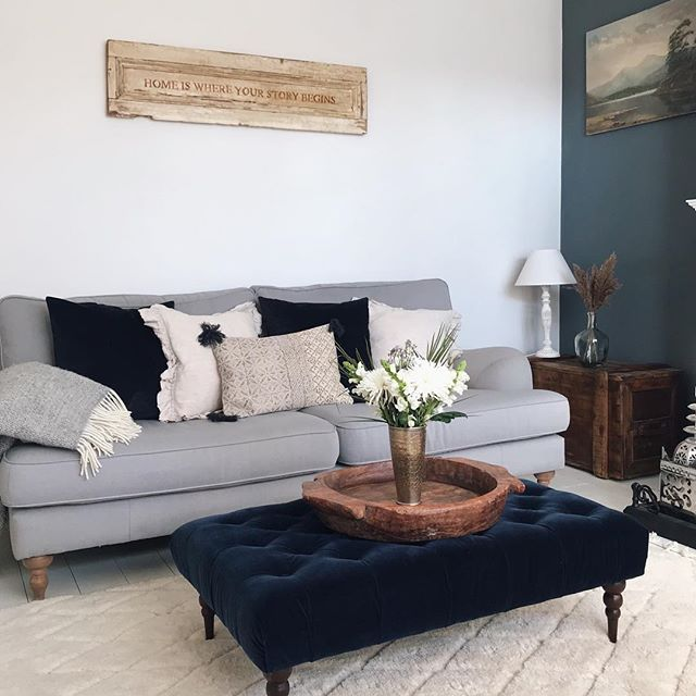 Grey Sofa Cream Carpet White And Blue Walls And A Blue Velvet Foot Stool In The Living Room Livin Blue Living Room Living Room Grey Cream Carpet Living Room
