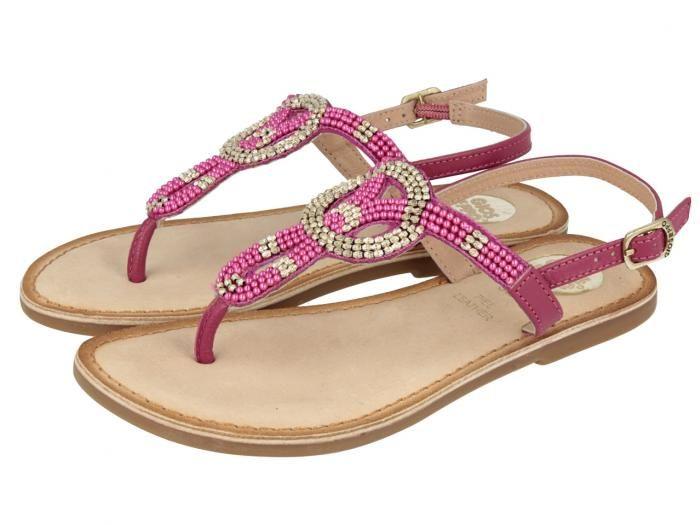 Gopi / Sandalias rosa de niña con detalles brillantes en la tira y sujección al tobillo