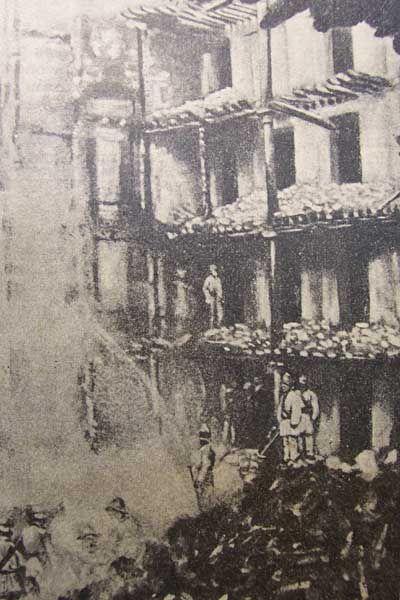 Teatro Romea ardiendo en 1899