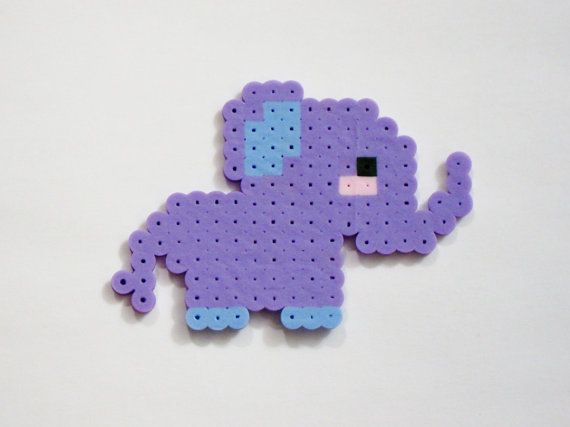 Baby ELEPHANT Blushing // Purple and Periwinkle Lavender Blue Cute Kawaii Perler Beads Zoo Animals // Magnet Keychain Pin (pick your finish)