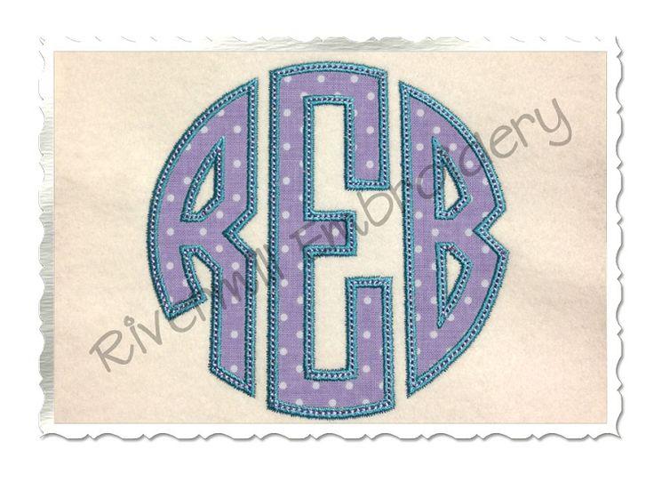 Circle letter monogram applique satin w bean stitch