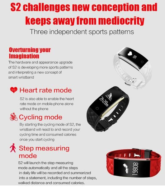 S2 Dynamic Heart Rate Smart watch for iOS Android E