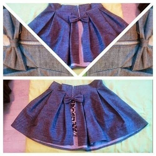 Front Slit Box Pleat High waisted Jean Skirt  •  Free tutorial with pictures on how to sew a pleated skirt in under 60 minutes