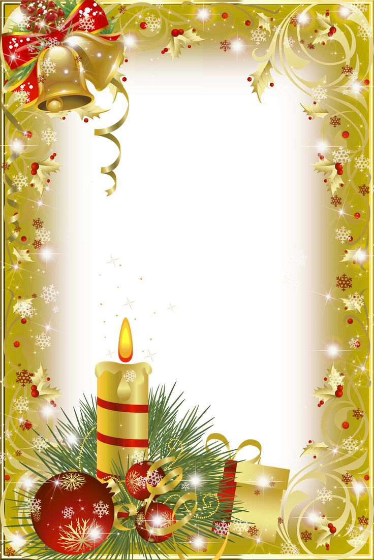 Christmas frame with bells and candle and ornament