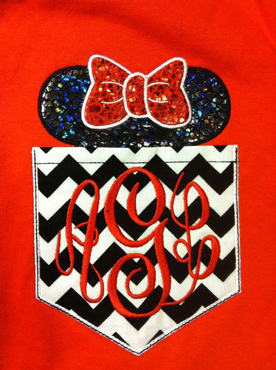 Short Sleeve Chevron Pocket tee Mickey or Minnie -great for Disney trips- family shirts available on Etsy, $25.00