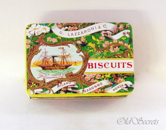 Small Tin Box Amaretti Cookie  D Lazzaroni & C by OldSecrets, €9.00