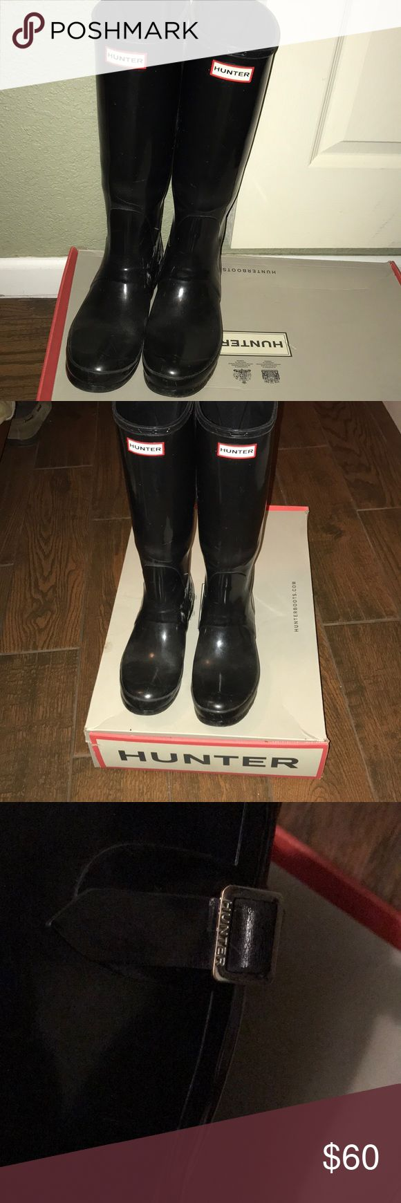 """Wide calf Hunter rain boots Black glossy tall Hunter rain boot, wide calf woman's size 8. These are well loved and have been stretched out with wellies, nothing narrow about them!! I've had these 2 years and just got a new pair so time to part. (Wide calf are more expensive and harder to find) compared to the other, and the width adjustment goes 6"""" down Hunter Boots Shoes Winter & Rain Boots"""