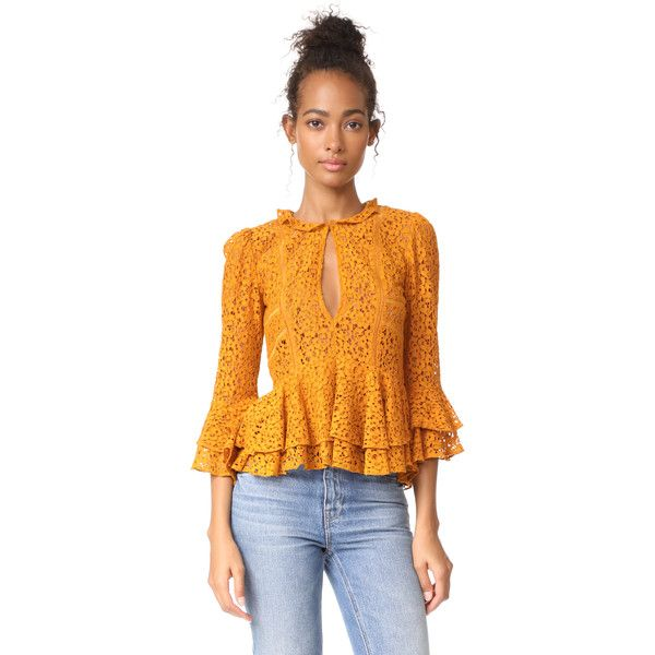 Marissa Webb Arielle Blouse ($400) found on Polyvore featuring women's fashion, tops, blouses, deep gold, lace tops, long sleeve ruffle blouse, frilly blouse, long sleeve lace top and ruffle long sleeve top