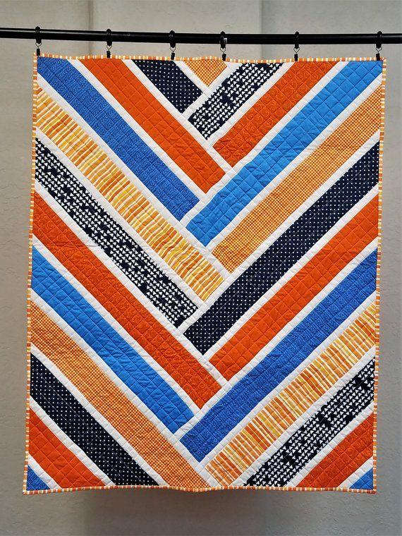Baby Boy Quilt Harringbone Quilt Orange And Blue Quilt Etsy Boy Quilts Blue Quilts Baby Boy Quilts