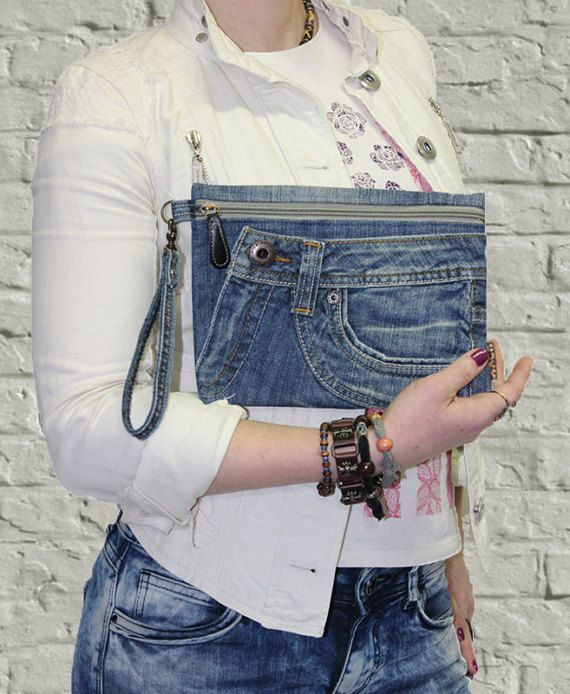 Jeans clutch wristlet make up cosmetic zipper bag pouch case with strap recycled denim
