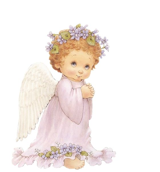 Cute Angel with Purple Flowers Free Clipart