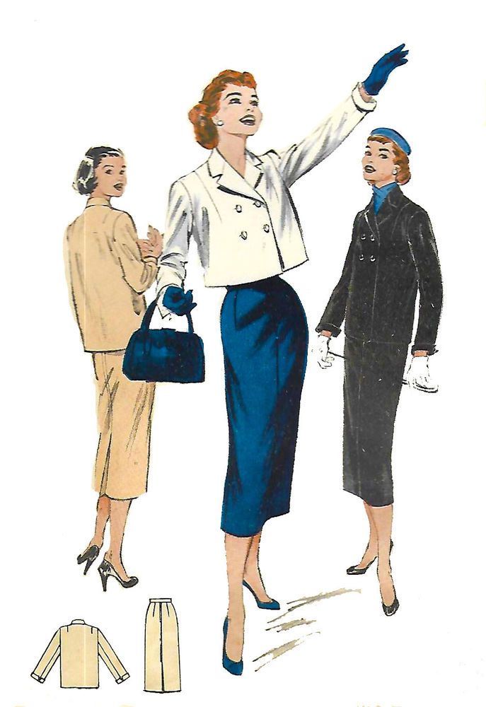 "Vintage 1950's Sewing Pattern Jacket & Skirt Pencil Suit Set B 34"" Reproduction #Butterick"