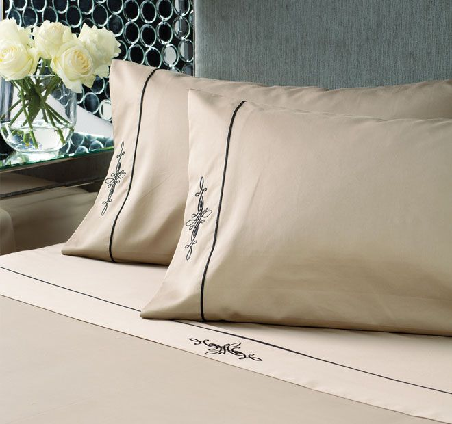 Linen House Boutique Belmont Sheet Set Taupe and Black