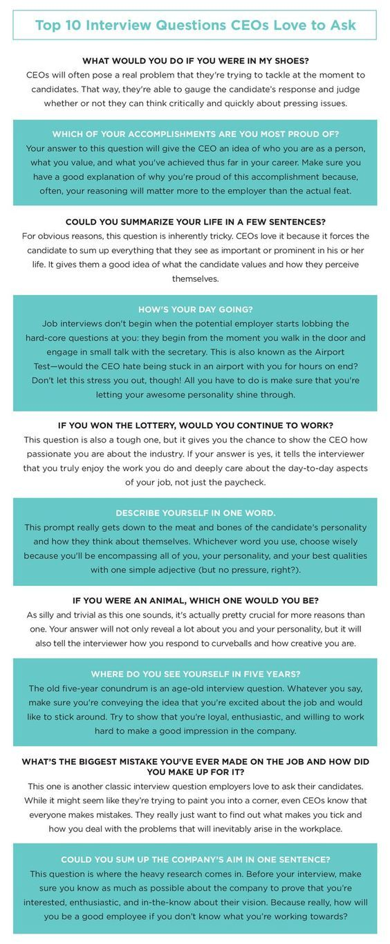 Perfect Career Infographic : Top 10 Interview Questions CEOs Love To Ask