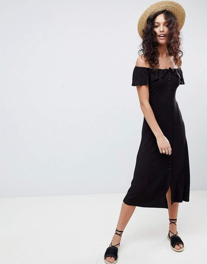 2caf8513864 Asos Design Off Shoulder Button Through Midi Sundress