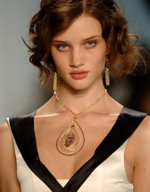 gold necklace Amethyst necklace Macrame jewelry by KelkaJewelry