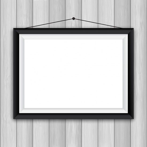 Blank picture frame on a wooden wall background Free Vector