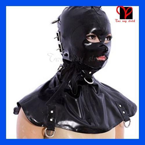 System Black Latex Hoods blindfold buckle D ring false cape lacking back open eye mouth nose Rubber masks blinder TT-232
