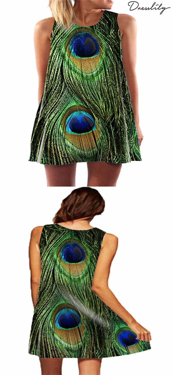 b1137a85ddb Digital Print Sleeveless Round Neck Peacock Feather Dress.Extra 12% off  code DL123  dresslily