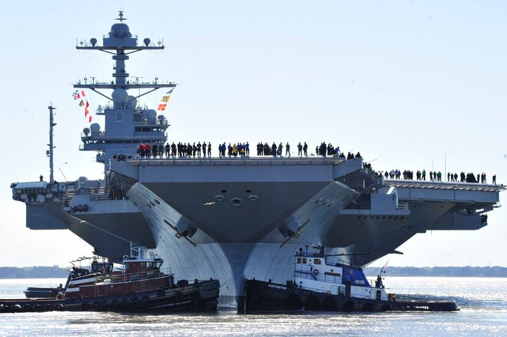 170408-KU586-0043 NEWPORT NEWS, Va. (April 8, 2017) - Pre-Commissioning Unit Gerald R. Ford (CVN 78) departs Huntington Ingalls Industries Newport News Shipbuilding for builder's sea trials off the coast. The first- of-class ship—the first new U.S. aircraft carrier design in 40 years—will spend several days conducting builder's sea trials, a comprehensive test of many of the ship's key systems and technologies. (U.S. Navy photo by Chief Mass Communication Specialist Christopher Delano)