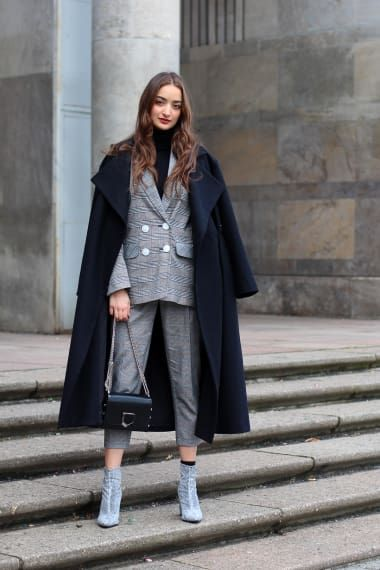 Luxe Outfit from ranhelwa with Topshop Coats, Topshop Blazers, Jimmy Choo Shoulder Bags, Topshop Pants, Miss Selfridge Boots