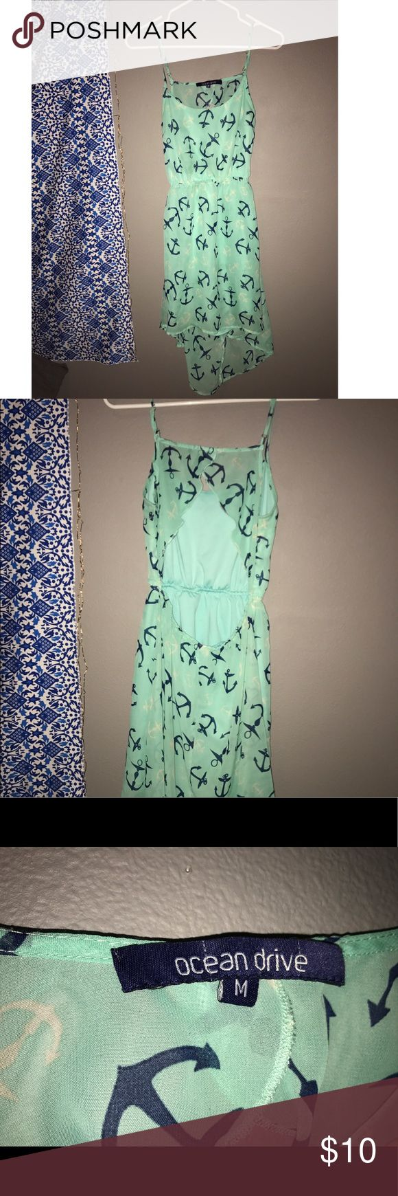 Teal anchor print dress from Hawaii I bought this size medium, teal, anchor print dress in Hawaii and has only been worn a few times. Dresses Backless