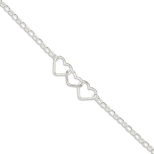 IceCarats 925 Sterling Silver 9 Rolo Chain 3 Interlocking Hearts Anklet For Women Ankle Beach Bracelet.More info for cheap anklets;ladies anklets;silver anklets online shopping;gold anklets online shopping;gold anklet could be found at the image url.(This is an Amazon affiliate link and I receive a commission for the sales)