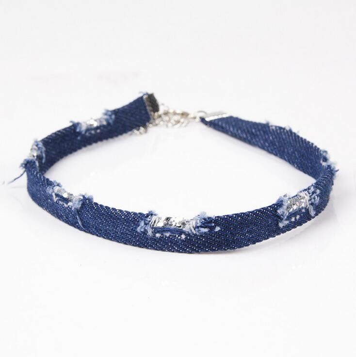Fashion denim choker necklace sequin jeans collars jewelry